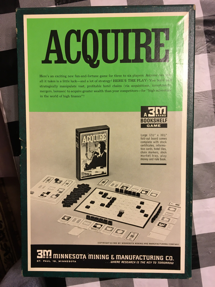 Back of 1963 ACQUIRE Box