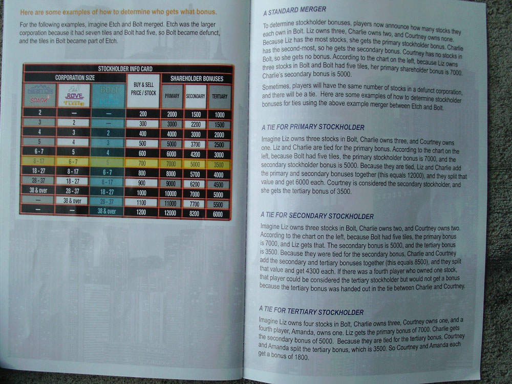 Details about the Information Card in the Rules Booklet