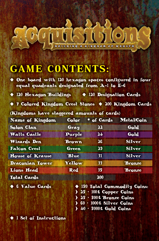 ACQUISITIONS Rules Booklet - Cover