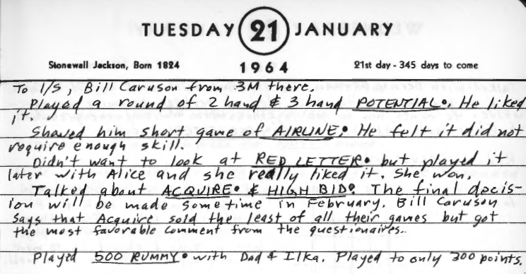 Sid's Diary Entry January 21, 1964