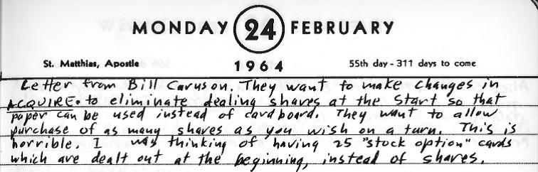 Sid's Diary Entry dated February 24, 1964