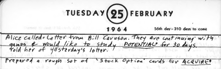 Sid's Diary Entry dated February 25, 1964