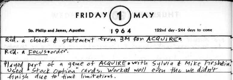Sid's Diary Entry May 1, 1964
