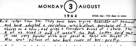 Sid Sackson Diary Entry August 3, 1964