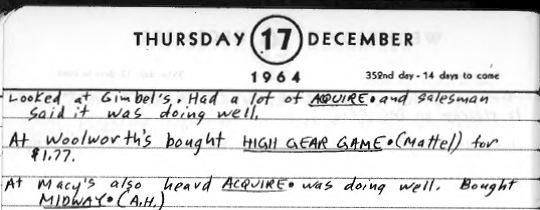 Sid's Diary Entry December 17, 1964