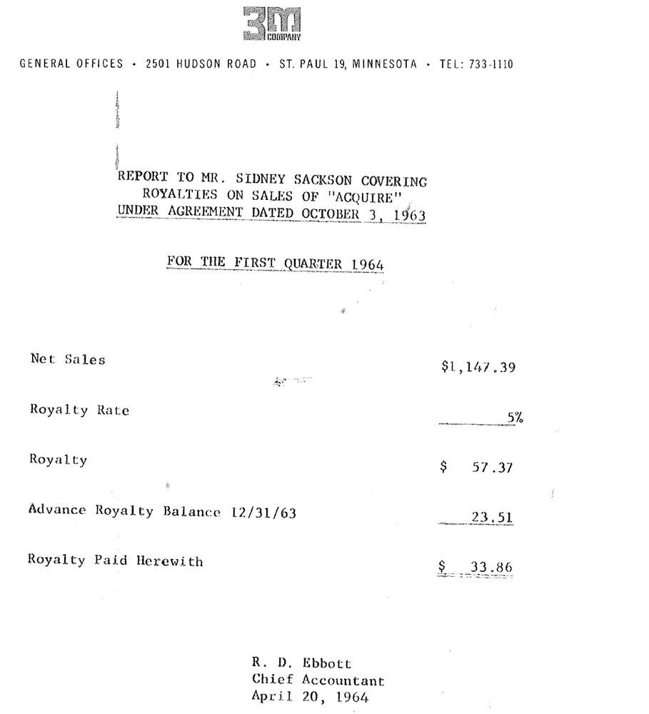 3M 1st Quarter 1964 Statement