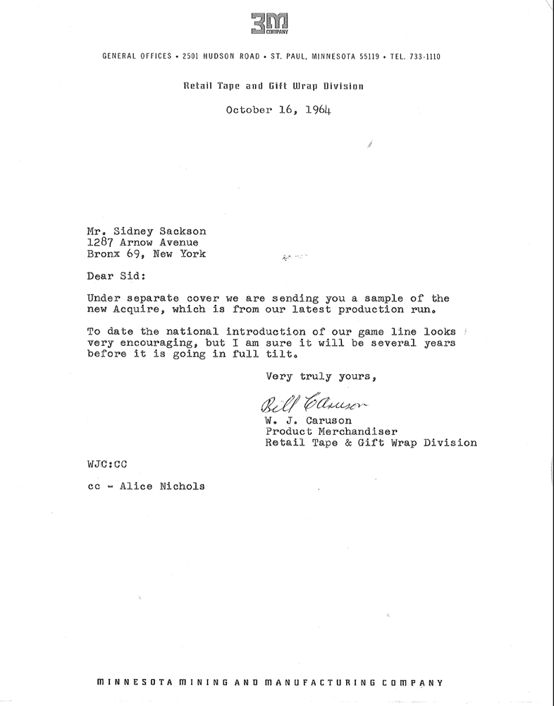 Bill Caruson Letter October 16th, 1964