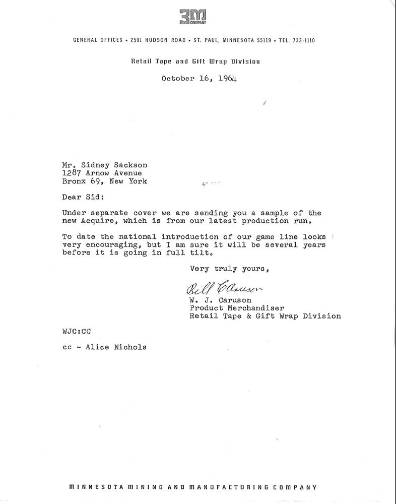 Bill Caruson Letter October 16th, 1964