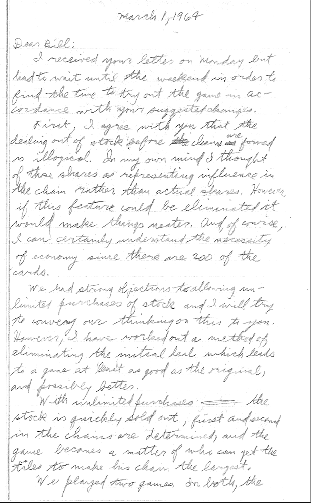 Sid Sackson Letter to 3M dated March 1, 1964 - Page 1