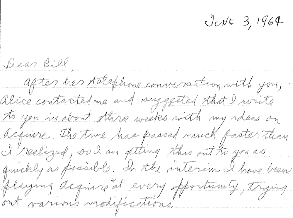 Sid Sackson Letter to 3M dated June 3, 1964 - Page 1