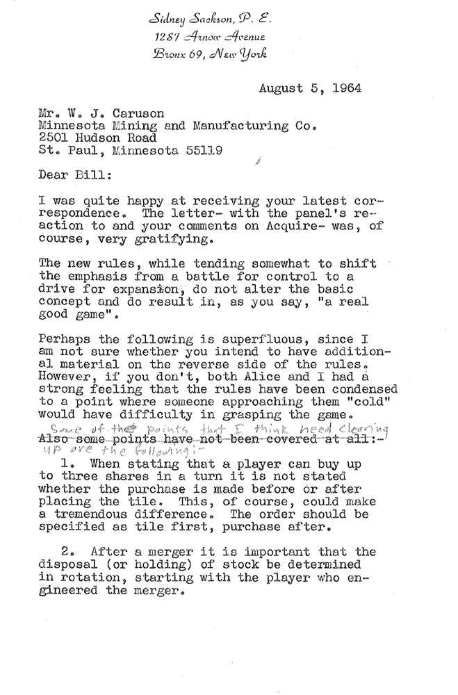 Sid Sackson Letter to 3M dated August 5, 1964 - Page 1