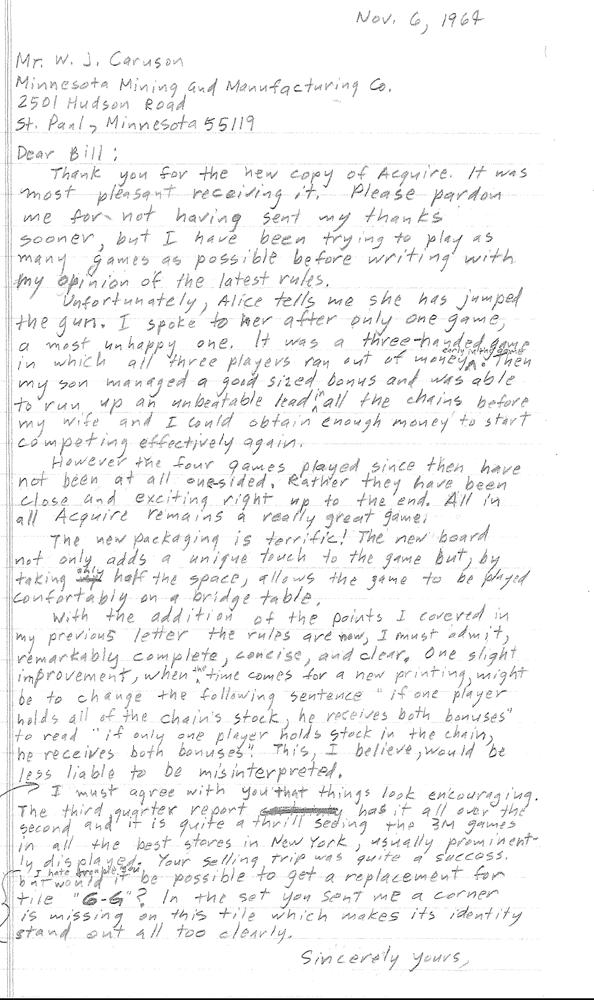 Sid Sackson Letter November 6, 1964