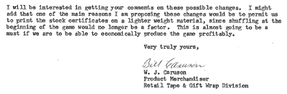 Caruson's Letter to Change Stock Amounts